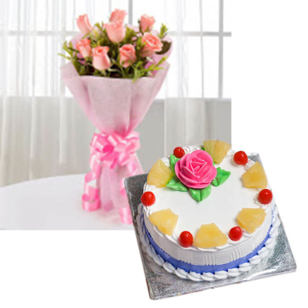 3.Pink roses and pineapple cake(tropical blush)-