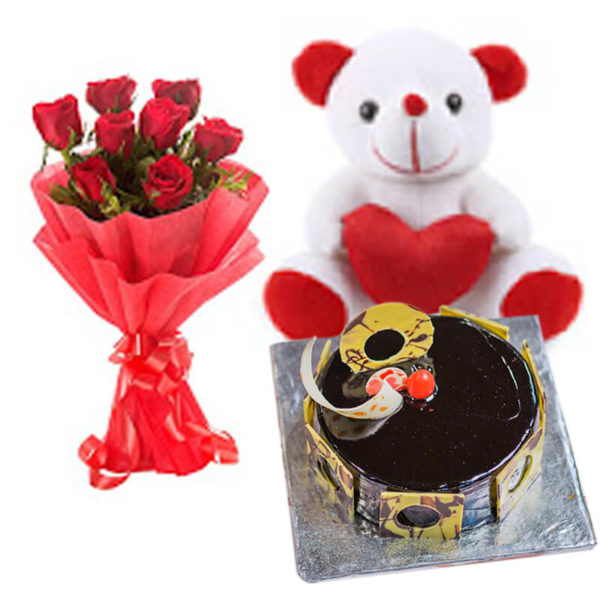 8.Red roses teddy and chocolate truffle
